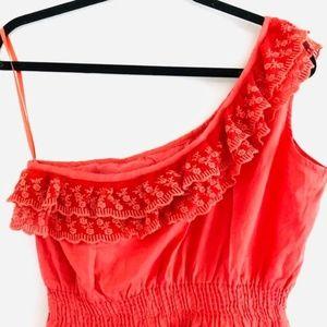 new glory Dresses - new glory Coral One Sided Ruffle Peasant Dress nwt